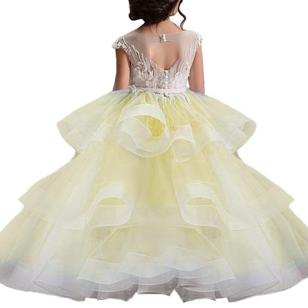 Платья принцессы A Line Flower Girl для свадебного кружева без рукавов Милые девушки Pageant Платья для детей Официальная одежда