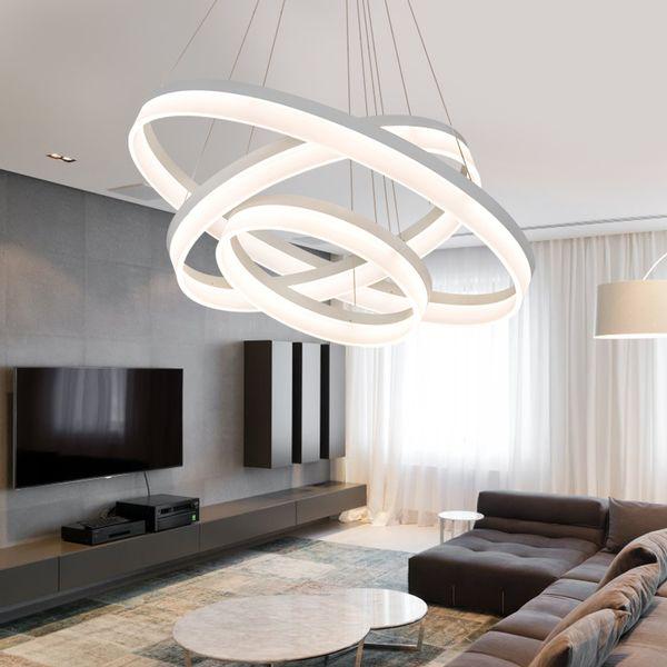Remote Control Modern Creative Pendant Light Living Room Dining Room 3/2 Circle Rings Acrylic Aluminum Body LED Lighting Fixture - I104