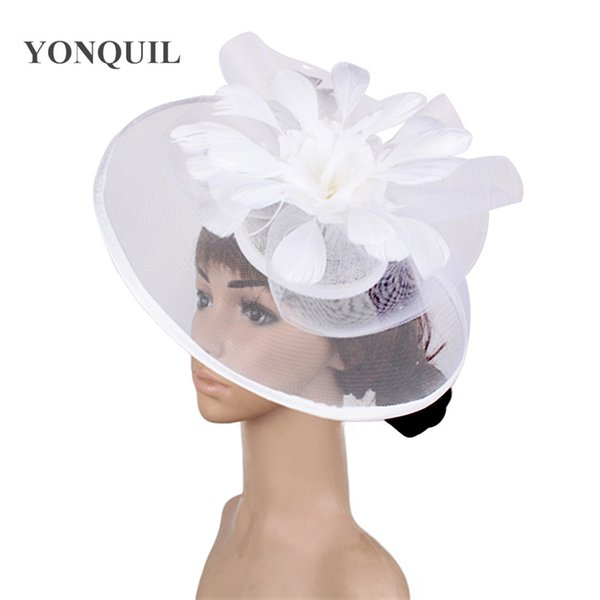 Feather Flower Fascinator white Wedding hair clip and Headband Women Tea Party royal ascot Bridal Church show Hat Great quality