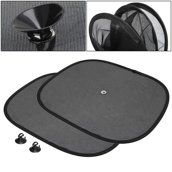2PCS Black Side Car Window Sunshade Sun Shade Visor Side Mesh Cover Shield Sunscreen
