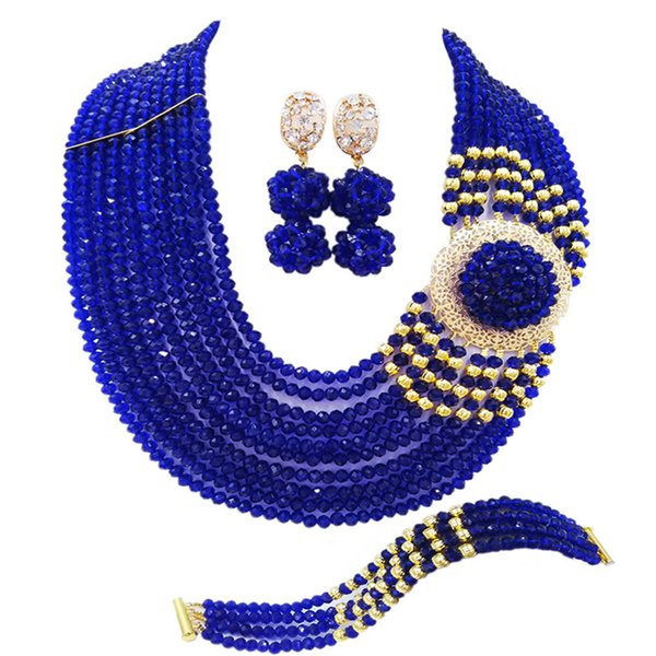 Fashion Royal Blue African Wedding Beads Nigerian Necklace Costume Jewelry Set Crystal Bridal Party Jewelry Sets 10DPH09
