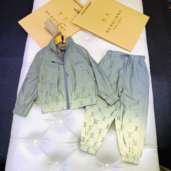 Children trousers sets kids designer clothing long sleeve baseball uniform coat + pants 2pcs autumn boys and girls reflective color sets