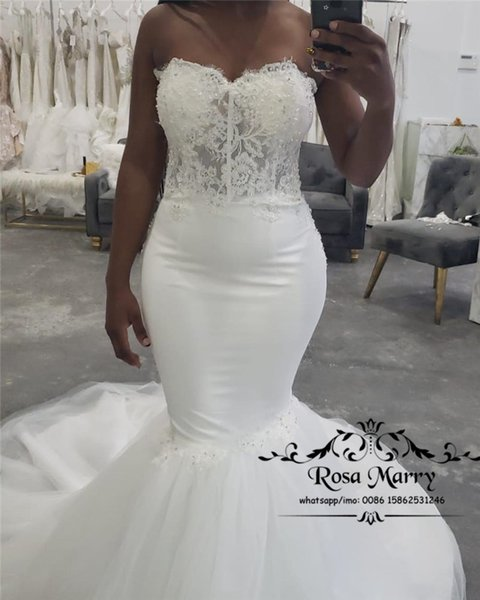 Sexy Plus Size Vintage Lace Mermaid Wedding Dresses 2019 Sweetheart Court Train Tulle Arabic African Vestido De Novia Bridal Gowns