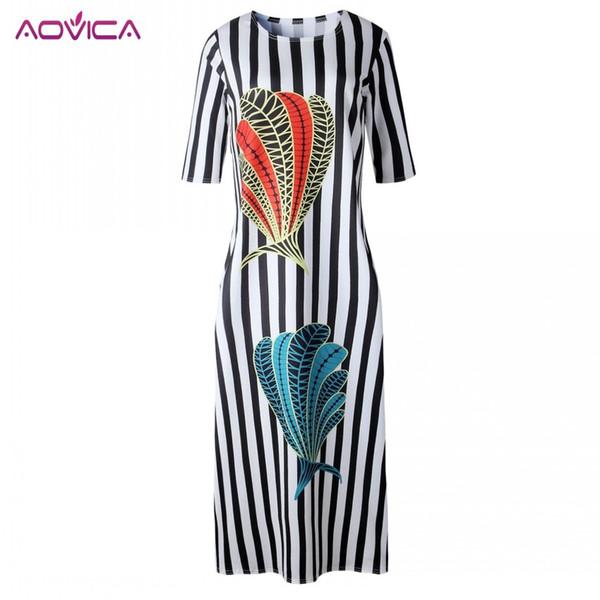 Aovica Venda Quente Novo Design de Moda Tradicional Africano Vestuário Impressão Dashiki Agradável Pescoço Vestidos Africanos para As Mulheres Moda Muçulmana