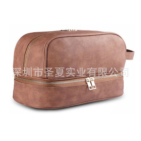 Belle2019 Double-deck Portable Bag Leatherwear Leather Products Gift Makeup Tool Kit Package