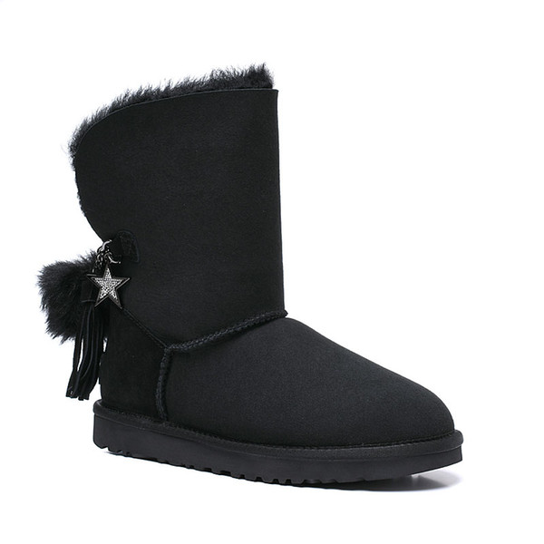 Free shipping Classic Genuine leather bailey bow snow boots 100% Wool Women Boots Warm winter shoes for woman Australia snow boots 03