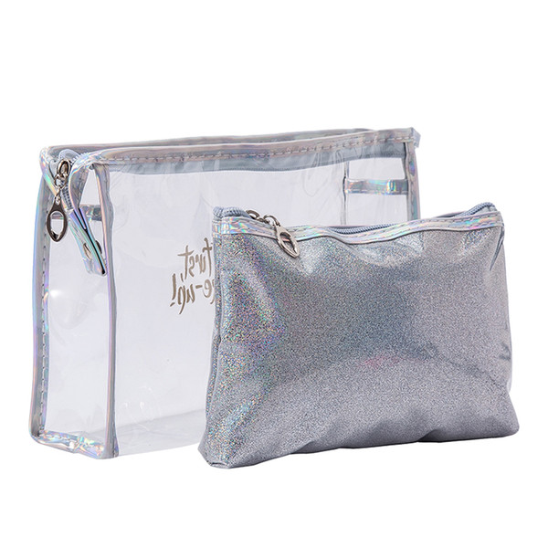 e5b0508bed85 PVC Clear Cosmetic Bag Transparent Makeup Pouch Laser Beauty Case Women  Toiletry Organizer Travel Accessories Necessary Makeup Box Cheap Makeup  From ...