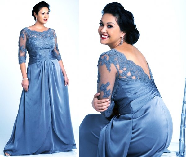 Vintage Lace Plus Size Gray Mother Of The Bride Dresses With Long Sleeves Scoop Neck Lace Chiffon Women Formal Evening Gowns