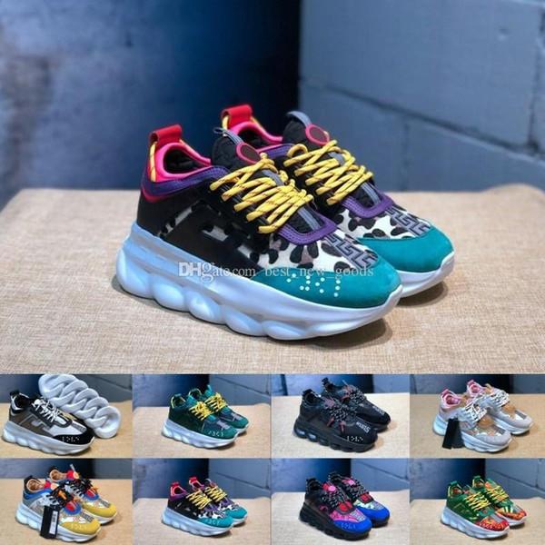 Reacción en cadena Zapatillas de deporte Zapatillas de deporte Hombre Mujer Zapatillas de deporte Ligeras ligeras con cordones Zapatos con suela de goma Zapato de diseño de lujo 2 cadenas Zapatillas