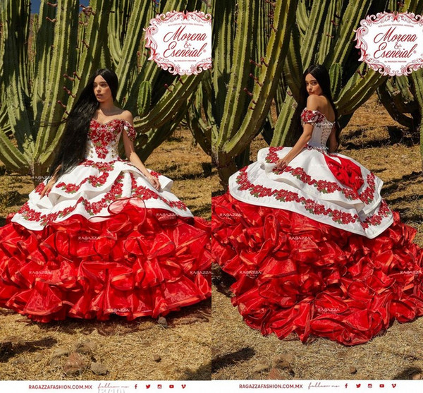 Ruffled Floral Charro Quinceanera Dresses 2020 Off Shoulder Puffy Skirt  Lace Embroidery Princess Sweety 16s Girls Masquerade Prom Dress Clearance