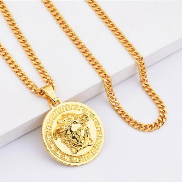 Famous Brand Medusa Circluar Men Designer Chains Necklaces 18K Gold Plated Hip Hop Fashion Pendant Necklace Rock Gift Factory Wholesale