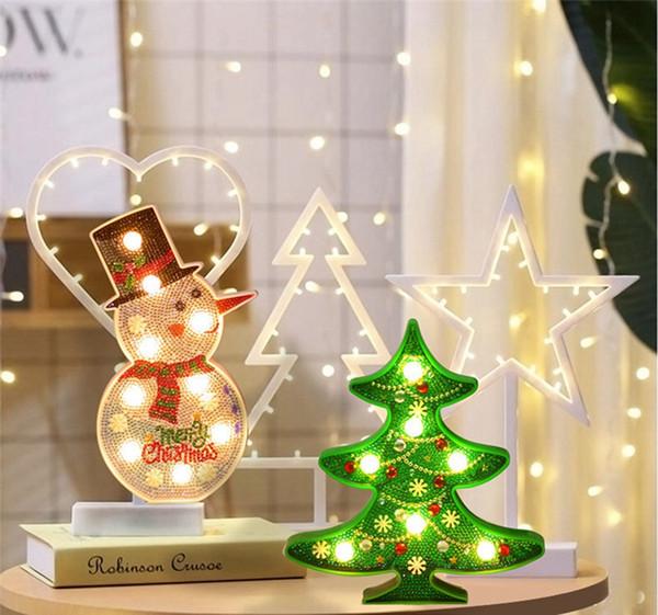 Kit de pintura diamante diy luz da noite, natal boneco de neve luzes diamante pintura de cristal decorativo luz da noite candeeiro de mesa para o natal