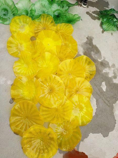 Moda 100% soffiato a mano della decorazione della parete di arte del fiore Camino Chihuly Stile Mounth Soffiato Piastre in vetro di Murano