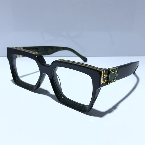 Lente transparente negro con marco verde