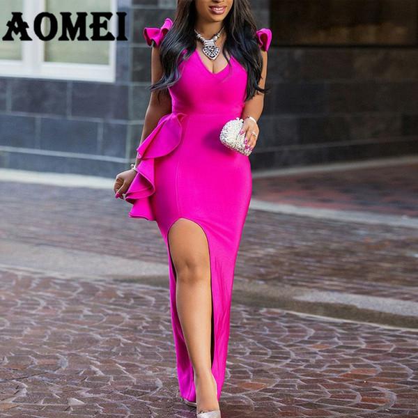 Women Long Party Dress Sexy Ruffle High Split Tight Lady Elegant Dinner Evening Maxi Slim Bodycon Tunic Femme Robe Spring Summer Q190510