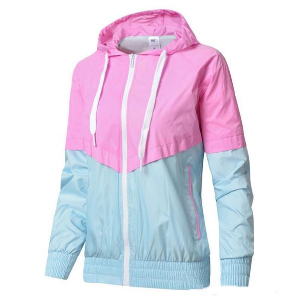 2019 Patchwork Femmes Vestes Coupe-Vent Zipper Hoodies Mince Manteau Mode Casual Survêtement Printemps Vestes De Sport
