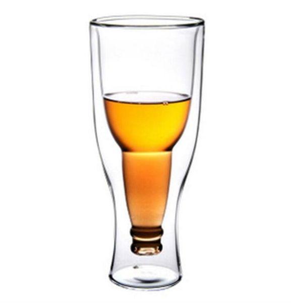 Nouvelle Haute Qualité Double Bière Tasse Soufflage Verre Heureux Retournement Verre Tasse À Bière 350ml Ménage Coupe Verres À Vin En Gros