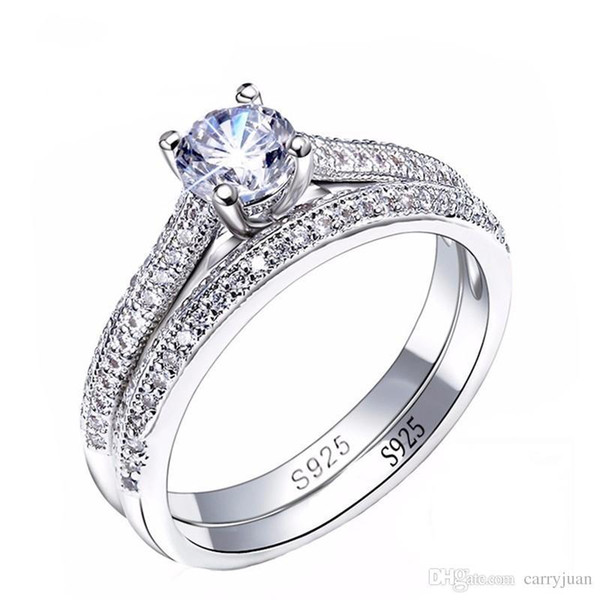 Sterling Silver 925 ROUND DESIGN BRIDAL WEDDING SET CLEAR CZ RING 8MM SIZES 5-10