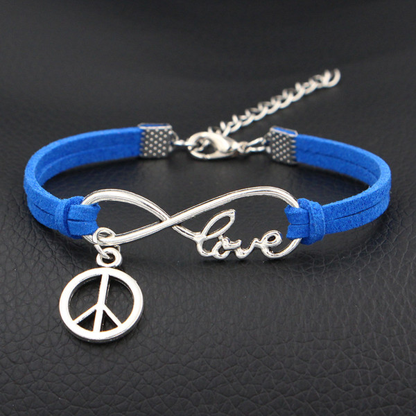 Hot Casual Punk Rock Infinity Love Peace Round Sign Multi Charm Bracelet For Women Men Gothic Jewelry Braided Dark Blue Rope Leather Bangles