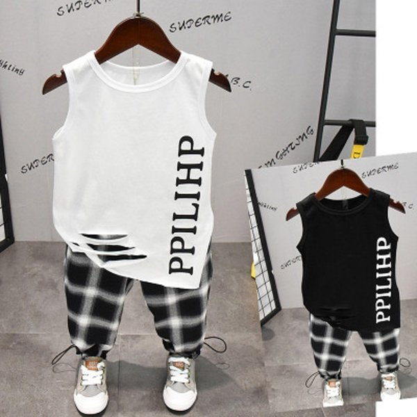 Summer new children's clothing cotton round neck sleeveless vest and long pants fashion clothing for boys
