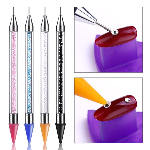 1 Pcs Double headed Dotting Pen Rhinestone Studs Picker Wax Pencil Crystal Beads Handle Nail Art Tool