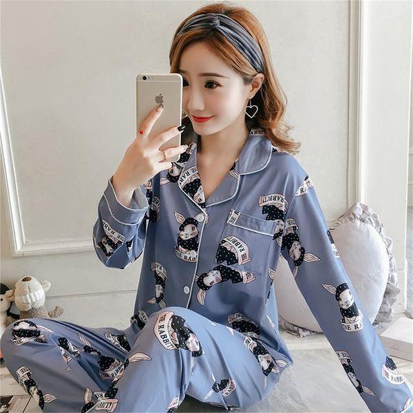 Source fabricants pyjamas femmes 2019 nouvelle transfrontalière quatre saisons climatisation costume revers cardigan XL costume de service