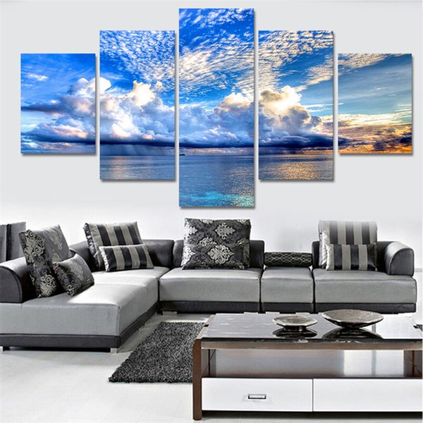 5 Pieces Posters and Prints Performing landscape sea sunrise modern Oil Painting Canvas Wall Pictures Living Room Home Decor MJ0856