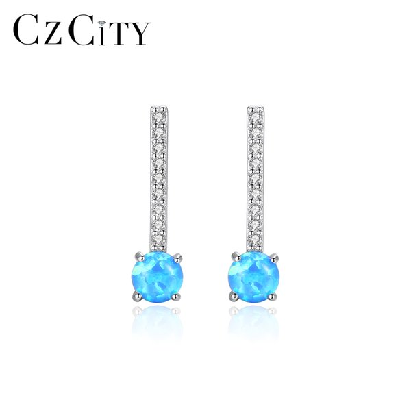 CZCITY Real 925 Sterling Silver Drop Earrings for Women Anniversary Fine Jewelry Round Colorful Fire Opal Pendientes Gift SE0412