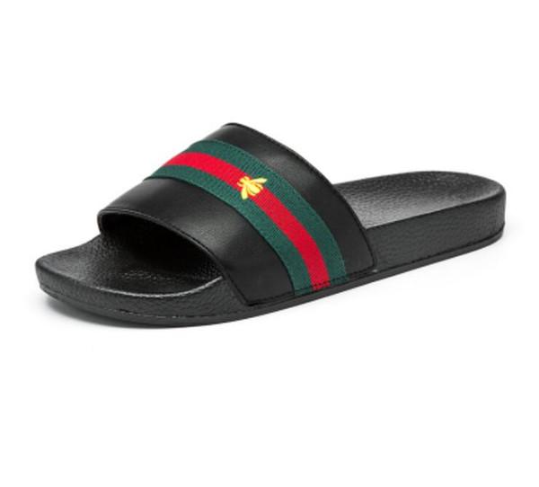 Brand designer slippers, green red green ribbon flip-flops designer sandals,designer slides,designer shoes,mens beach slippers G7.20
