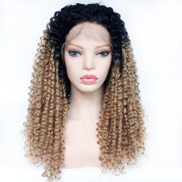 Top Quality Afro Kinky Curly Lace Front Wig High Density Natural Black Ombre #27 Synthetic Wig For Black Women