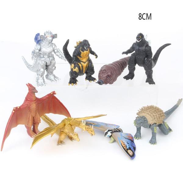 8pcs / set Godzilla 2 Action Figure film de jouets de poupée Godzilla: Le roi des monstres monstre de dinosaure Ghidorah Rodan mothra Toy MMA2057
