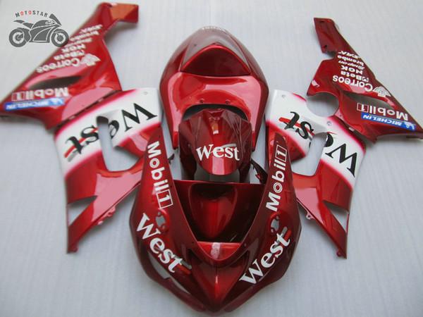 Customize Chinese Fairings kit for Kawasaki Ninja ZX6R 2005 2006 ZX 6R 05 06 red WEST fairing bodywork