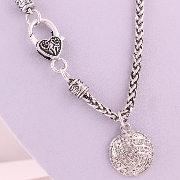 Personality Sporty Jewelry For Unisex Pendant Necklace Volleyball Shape Design With Sparkling Crystals Wheat Chain Necklace