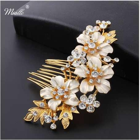 Miallo Wedding Bridal Hair Combs Vintage Forcine di cristallo Prom Jewelry Gold Silver Flower Pattern Accessori per capelli Pins Donna