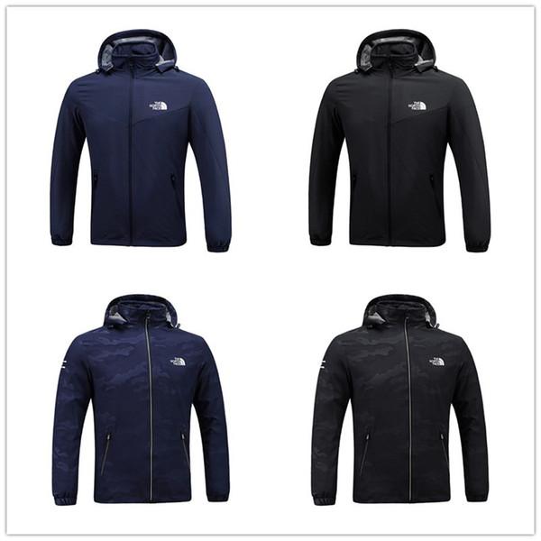 Erkek Tasarımcı Ceket Kuzey Rüzgar Ceket Erkek Bahar Sonbahar Açık Spor Kapüşonlu Yüz marka Rüzgarlık Mont Fermuar Camo Hoodie C8703