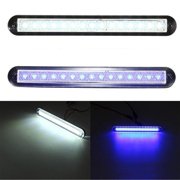 Carro Universal Auto Caravana Do Barco 12 V DC 15 LED Interior Trilho Exterior Luz de Tira Branco / Azul 3200 k