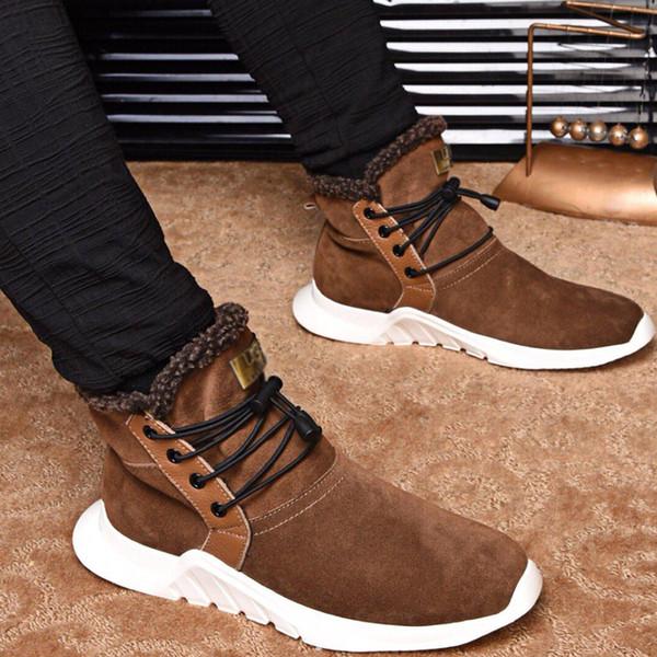 2019 Yeni Moda Marka Tasarımcısı Erkek Rahat Ayakkabılar Yüksek Kesim Gerçek Deri Yün Astar Sıcak Ayak Bileği Adam Çizmeler En Kaliteli Şık Ayakkabı