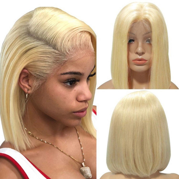 Human Hair Blonde Short Bob Wig #1bT613 Virgin Front Lace Gluless Remy for Black White Women Natural Hairline