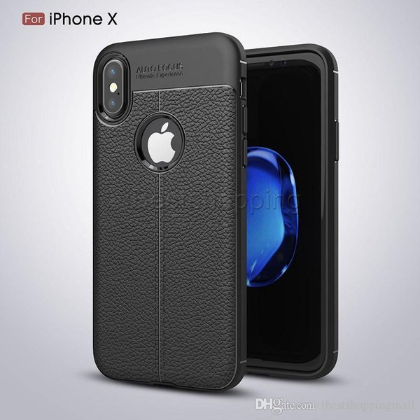 Soft TPU Silicone Case Anti Slip Leather Texture Phone Cases Cover For iPhone X Xr Xs Max 8 7 6 6S Plus Samsung Note 9 8 S7 Edge S8 S9 Plus