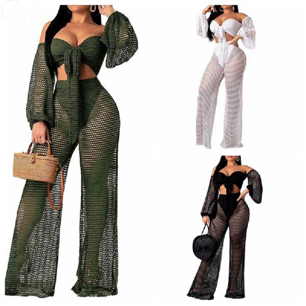 2019 New hollow out cover ups sexy women off shoulder Top+beach pants bikini swimwear swimsuit cover up beachwear 2PCS/SET
