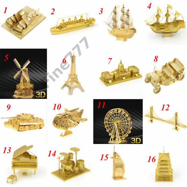Adults and Kids 210 Designs Metal 3D puzzles Toys model DIY Aircraft Cars Tanks Tie Fighter Planes 3D Metallic Nano building puzzle