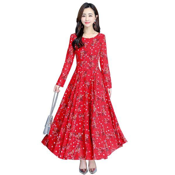 Más el tamaño nuevo vestido de las mujeres de primavera elegante rojo impreso sexy o-cuello dress vintage manga larga vestidos de gasa vestidos mujer túnicas