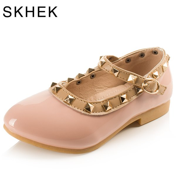SKHEK Rivets Girls Shoes Children Shoes Kids flat Sneaker White Pink Red Black For 1-6 Years baby New Fashion Sandals New Hot