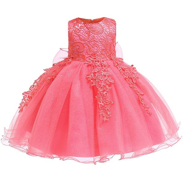 2019 Baby Lace Flower Birthday Gown 0-12-24 Month Clothes Newborn Kids Girls Birthday Princess Infant Party Dresses Costume Y19061001