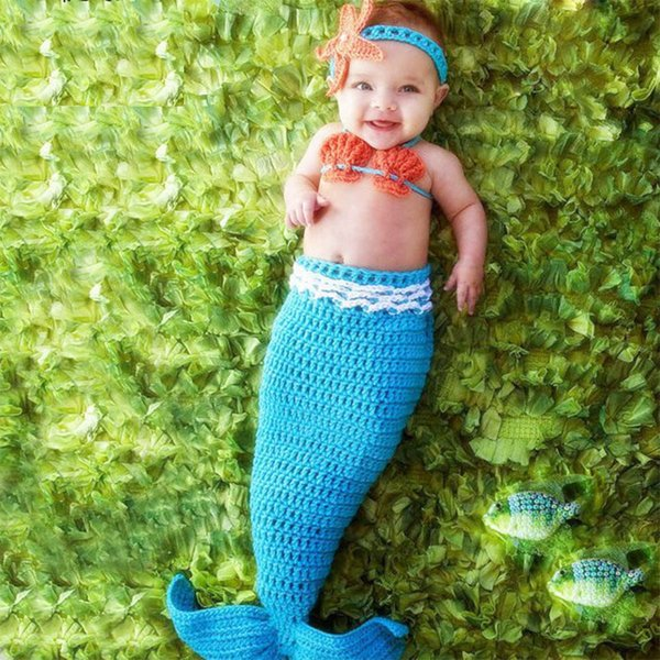 Newborn photography accessories baby mermaid tail costume crochet outfits bra headband set shooting baby photo props baby fotografie props