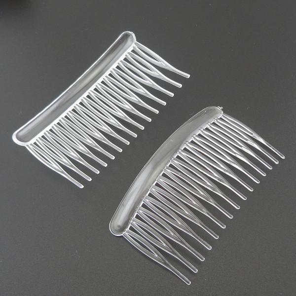 20PCS 15teeth medium size 4.5cm*8.0cm White Clear plain Plastic hair combs for diy hair accessories,Side combs for bridal wedding