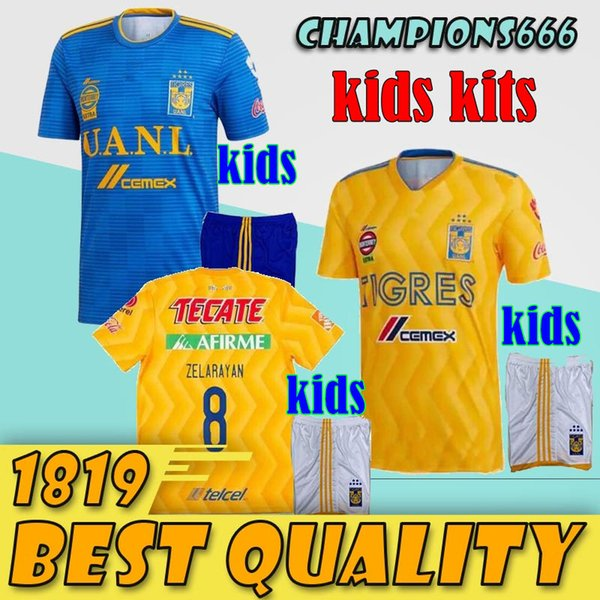 2018 2019 Kids kits Tigres UANL SOCCER JERSEY 18 19 Tigres UANL GIGNAC DAMIAN VARGAS ZELARAYAN HOME THAILAND QUALITY