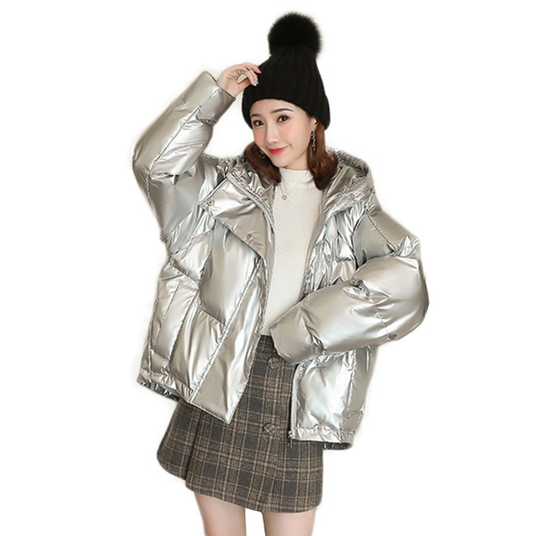windproof glossy winter thick down jacket women short fluffy parka hooded ladies loose puff jackets outwear female cotton-padded