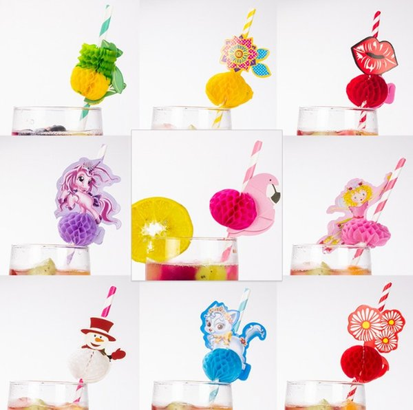 Flower Paper Straws Disposable Honeycomb Suckers Cartoon Horse Straw Stripe Paper Sucker for Drinking Cocktail Juice Party Wedding Decor