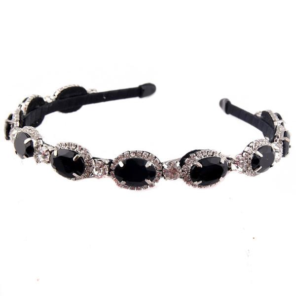 Elegante Diamante Rhinestone Hairband Sparkly Black Crystal Headband para las mujeres de moda accesorios para el cabello